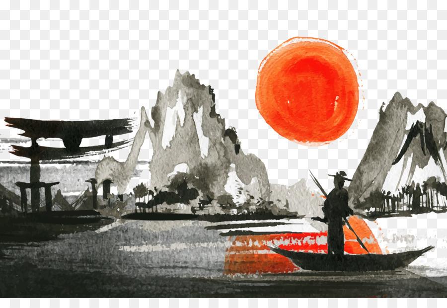 Des Paysages Japonais Coucher De Soleil Peinture A Laquarelle Png Des Paysages Japonais Coucher De Soleil Peinture A Laquarelle Transparentes Png Gratuit